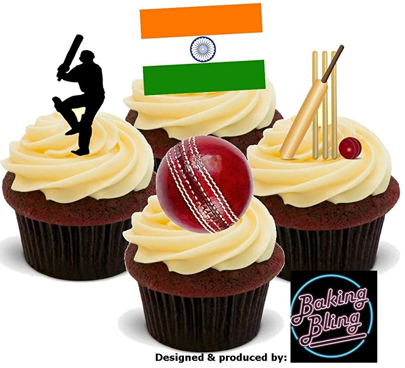 12 x Cricket India Flag Test Match Championship Mix - Fun Novelty Birthday PREMIUM STAND UP Edible Wafer Card Cake Toppers Decorations
