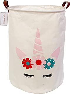 QIMI Large Storage Bins,Waterproof Laundry Hamper with Handles Canvas Organizer Bin for Kids Hamper Nursery Hamper(Flower&...