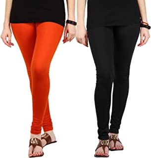 FabLab Cotton Lycra Churidar Leggings(FLCLCOMBO2OB,Orange, Black,Free Size) Combo Pack of 2