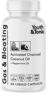 Activated Charcoal Pills for Bloating and Gas Relief w/ Peppermint & Organic Coconut Oil | Active Charcoal Powder in Liqui...