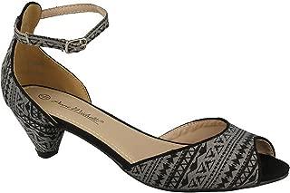 Anne Michelle Womens/Ladies Mid Scoop Heel Peep Toe Court Shoes