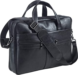 Men's Business Travel Briefcase Leather Handmade Messenger Bags Laptop Bag fits 15.6 inches Laptop black