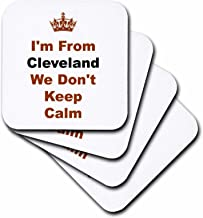 3dRose Dont Keep Calm, Cleveland, Brown and Black Letters on White Background - Ceramic Tile Coasters, Set of 4 (CST_180043_3)