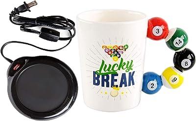 "Home-X Mug Warmer, Desktop Heated Coffee & Tea - Candle & Wax Warmer (Black) and Novelty Coffee Mug With Pool-Ball Handle for Office, Home, or Kitchen, Billiard Mug, Gift-11oz. 7.91 x 6.3 x 5"""