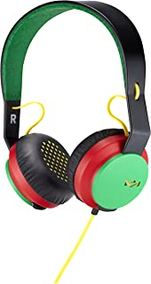 House of Marley, Rebel On-Ear Wired Headphones - In-line Microphone with 1-button Remote, Single Sided Cable, Powerful 40mm Driver, Competitive Acoustic Performance, EM-FH041-RA Rasta