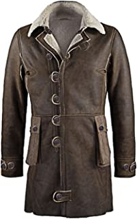 ST Mens Genuine Leather Trench Coat Jacket Dark Knight Rise Bane Tom Hardy Slim Fit Big Tall Boys Kids