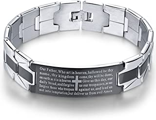 Men's Vintage Stainless Steel Black Cross Silver English Bible Lords Prayer Religious Link Wrist Bracelet (Cross Middle, Black Silver, 7.9 inch)