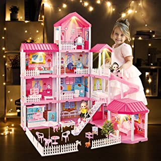 Dream House Doll House Kit, DollHouse with Lights, Slide, Pets and Dolls, DIY Pretend Play Building Playset Toys with Asseccories and Furniture, Princess House for Toddlers, KidsBoy&Girl (11 Rooms)