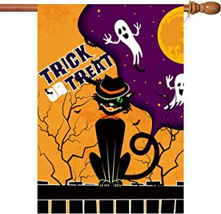 VIEKEY Trick or Treat House Flag Double Sided 2 Layer Fabric, Burlap Halloween Flag 28 x 40 Inch