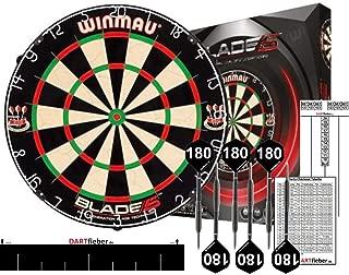 Winmau Mega Starter Set Bristle Steel Dartboard Original Blade 5 Bristle Board + Abwurflinie + 2 Set Steel-Darts + Checkoutkarte + Scoreboard Block