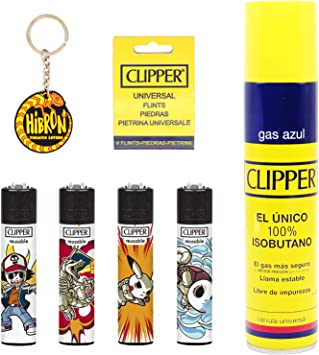Image ofClipper 4 Mecheros Encendedores Diversos Surtidos Bonitos Baratos,1 Carga Gas Encendedor Clipper 300 Ml,9uds De Piedra Clipper Y 1 Llavero Hibron Gratis 1-10003-12