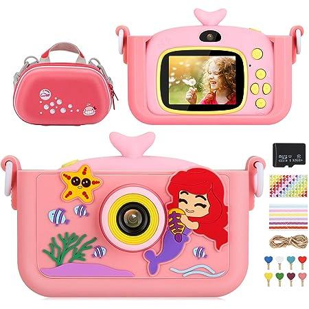 Fotocamera Bambini, Luclay Fotocamera Digitale Per Bambini con Custodia Per Fotocamera, Cover in Silicone, Adesivo Angolare, scheda da 32 GB, regalo per videocamera antiurto da 20 MP HD 1080P (Rosa 2)