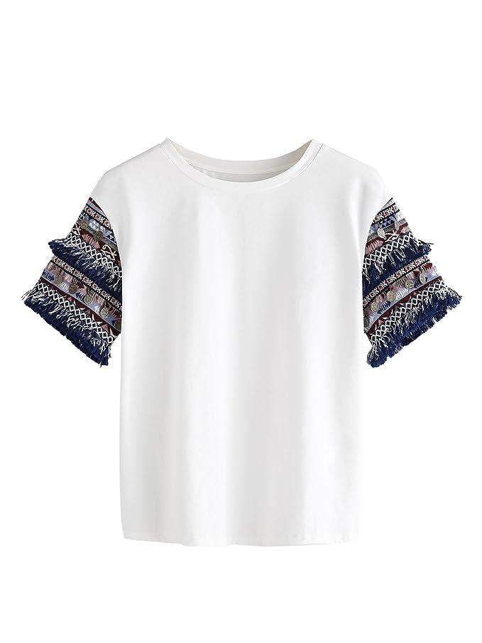 Floerns Women's Fringe Short Sleeve Cute Casual T-Shirt Tops