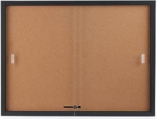 Displays2go Enclosed Cork Board, Sliding Glass Door, 4' x 3', Locking Bulletin Board for Wall (CBSD43BK)