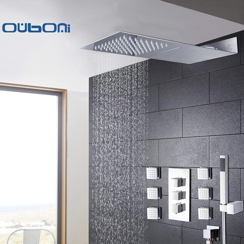 Gute Qualitt an der Wand befestigte quadratische Art-Messingwasserfall-Duschsatz-neue Badezimmer-Dusche mit Griff-Niederschlag-Duschkopf