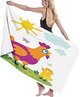 Microfiber Beach Towel Summer Swimming Printed Bath,Nursery Themed Sweet Cartoon with Chicken and Baby in Sunny Nature Da...