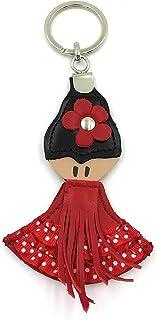 franartPiel - Llavero flamenca hecho en Piel Ubrique - Alta Calidad (Rojo)