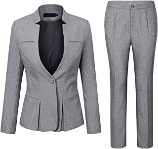 YUNCLOS Women's Elegant Business 2 Piece Office Lady Suit Set Work Blazer Pant