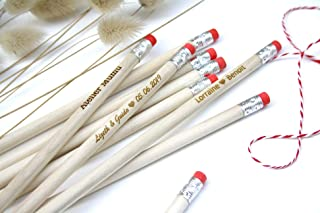 100 matite di legno con testo personalizzato, gruppo x100 matite, personalizzabile, per matrimonio, gomma di colore rosa, ...