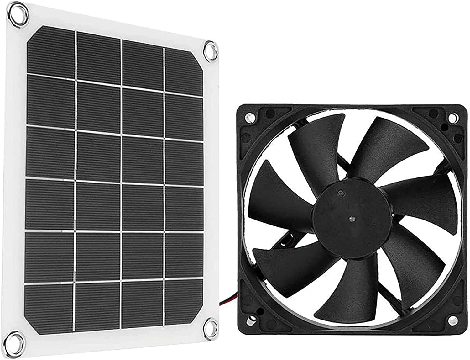 Aweand Solar Panel Fans for Home or Outdoor IP65 Waterproof 10W 6V Solar Exhaust Fan for Dog Chicken House Greenhouse RV Roof Quietly Cools and Ventilates