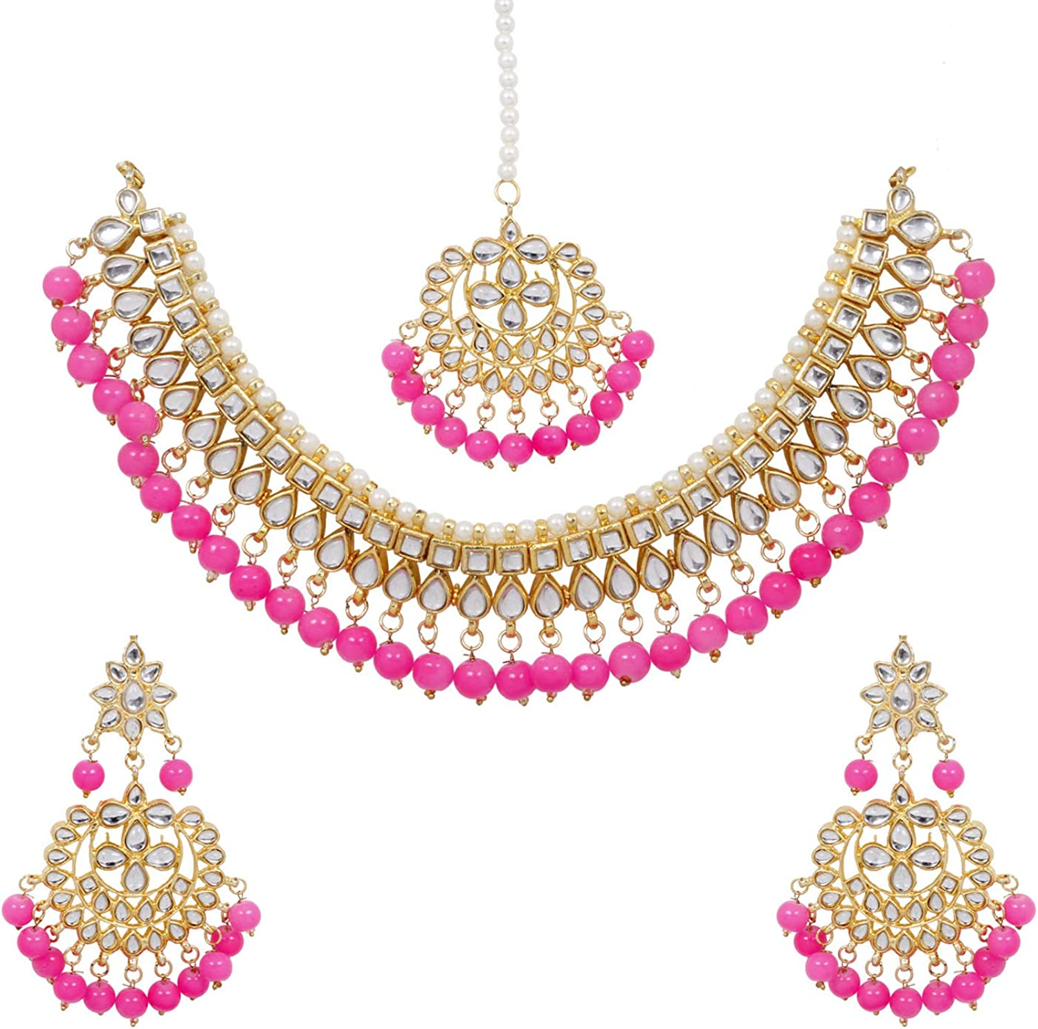 SANARA Indian Bollywood Traditional Pink Kundan and Pearl Made Bridal Designer Jewelry Choker Necklace Set for Women & Girl Jewelry