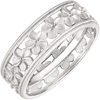 CloseoutWarehouse Sterling Silver Matte Plumeria Eternity Flower Ring (Sizes 4-13)