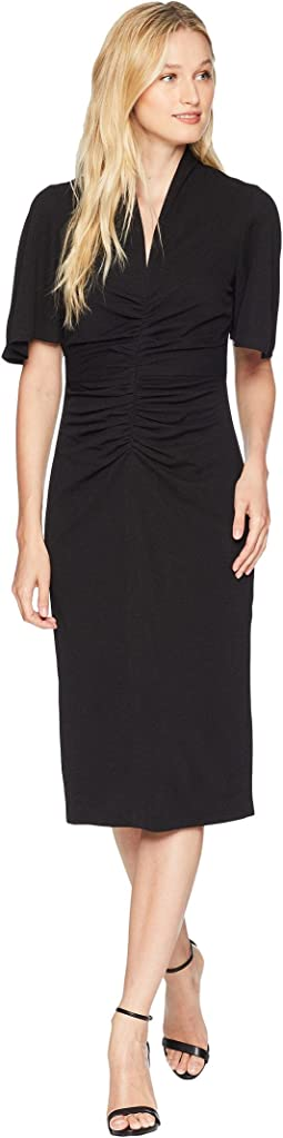 Solid Crepe Ruched Novelty Sheath