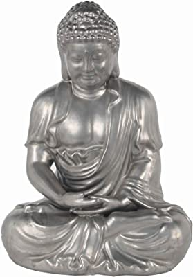 Urban Trends Fiberstone Meditating Buddha Figurine with Rounded Ushnisha in Dhyana Mudra SM of Tarnished Finish Gold