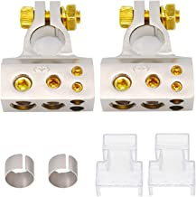 Car Battery Terminal Connectors Kit - Positive Negative Battery Post Connectors With Clamp and Shims for Auto Car Caravan Marine Boat Motorhome (2/4/8/10 AWG)