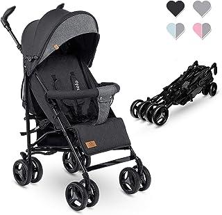 Lionelo Irma barnvagn, vikbar buggy med ryggstödsjustering, 6-tums hjul, svart