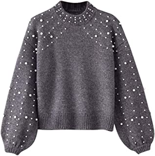 iLH Women's Round Neck Pearl Pullover Long Sleeve Pearl Knitted Sweater Blouse Pullovers Tops