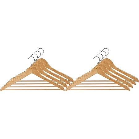 WENKO Cintre Eco naturel - set de 8 cintres, barre pour pantalons, encoches jupes, Bois, 45 x 23.5 x 1.2 cm, Marron