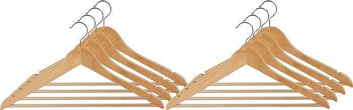 Wenko Lote de 8 perchas Madera Natural con Forma y Puente 45 cm, beuken, Beige