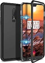 CE-Link Funda OnePlus 6, Carcasa Fundas Magnética Cubierta de Trasera de Vidrio Templado Transparente con Metal Parachoque Imanes Incorporados 360 Grados - Negro