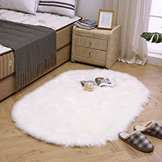 LEEVAN Super Soft Round Rug Faux Fur Wool Oval Carpet Fluffy Shaggy Kids Play Mat Girls Runner Area Rug for Sofa Floor or Living Room Bedroom Accent Home Decorate(White,3ft x 5ft)