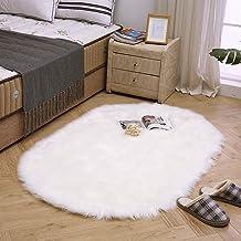 LEEVAN Plush Sheepskin Style Throw Rug Faux Fur Elegant Chic Style Cozy Shaggy Round Rug Floor Mat Area Rugs Home Decorato...