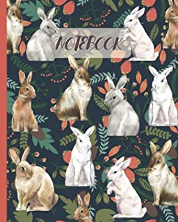 Notebook: Rabbits Drawing & Floral - Lined Notebook, Diary, Track, Log & Journal - Cute Gift Idea for Girls, Teens, Women (8