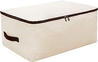 Canvas Large Washable Soft Garment Storage Bins, 100% Cotton Big Size Bedding Set Storage Bag with Zip. Beige