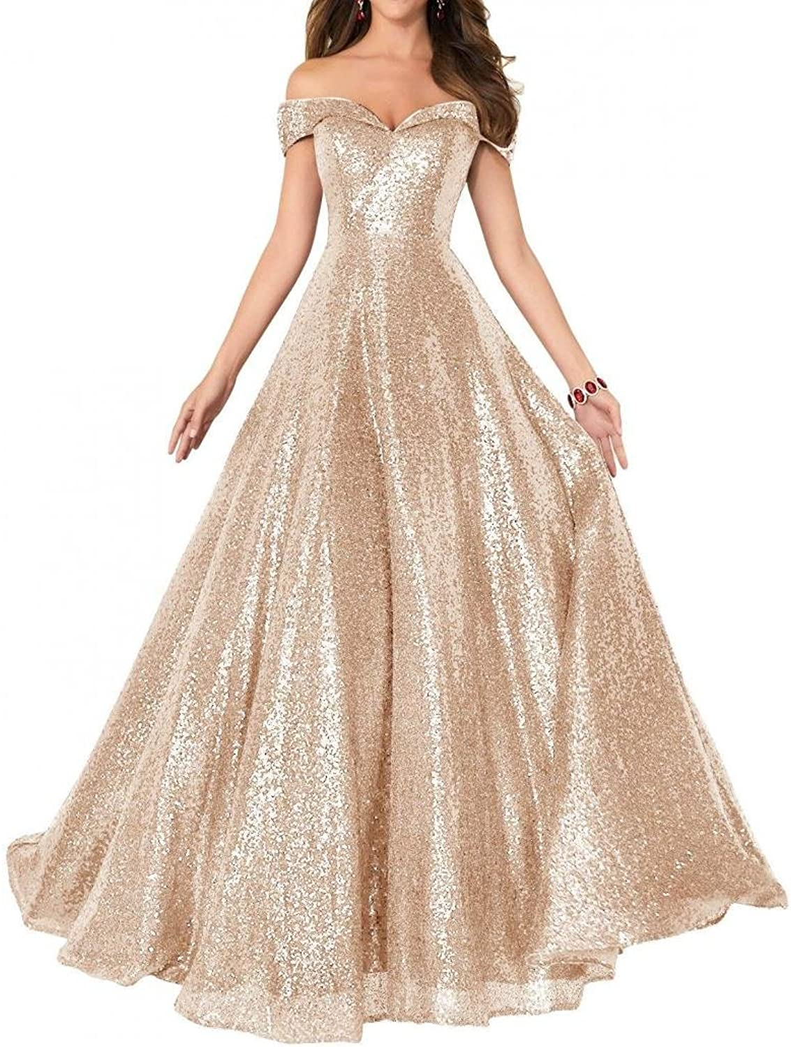 Dannifore Sequins Off Shoulder Empire Waist Prom Dresses Long Evening Dresses Formal