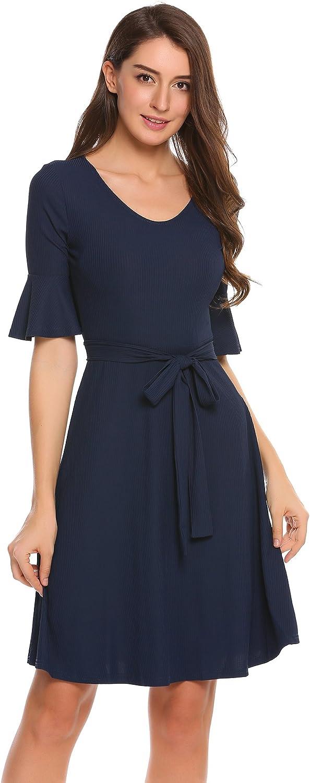 BEAUTYTALK Women's Swing TShirt Dress Elegant Short Sleeve Casual Dress