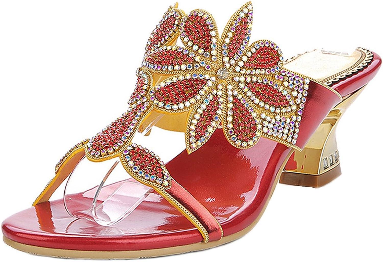 LizForm Glitter Sandal Sweet Lady Dating Sandal Chunky Low Heel Slip On Sandal