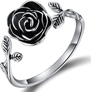 18K Gold Plated S925 Sterling Silver Rings Rose Open Ring 3D Rose Shape Adjustable Ring Jewelry for Women and Girls