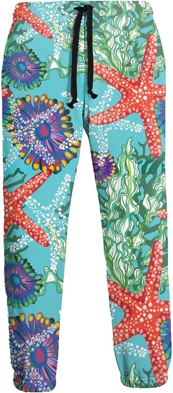 Men's Jogger Sweatpants Sea Flowers Starfish 3D Loose Joggers Pants with Drawstring Long Pants