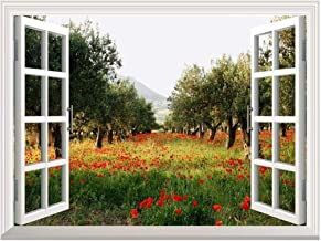 Removable Wall Sticker/Wall Mural - Poppy Fields Under Trees in a Orchard   Creative Window View Wall Decor - 24