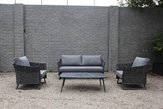 OSMEN Outdoor Patio Furniture - Los Angeles 4PC Lounge Set - Garden Backyard Poolside Balcony Sofa and Coffee Table Alumin...