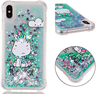 iPhone Xs Max Case, Dooge [Cartoon Pattern] Luxury Bling Floating Sparkle Glitter Liquid Quicksand Shockproof Anti-Scratch Girls Women Protective Bumper Case Apple iPhone Xs Max 6.5 inch