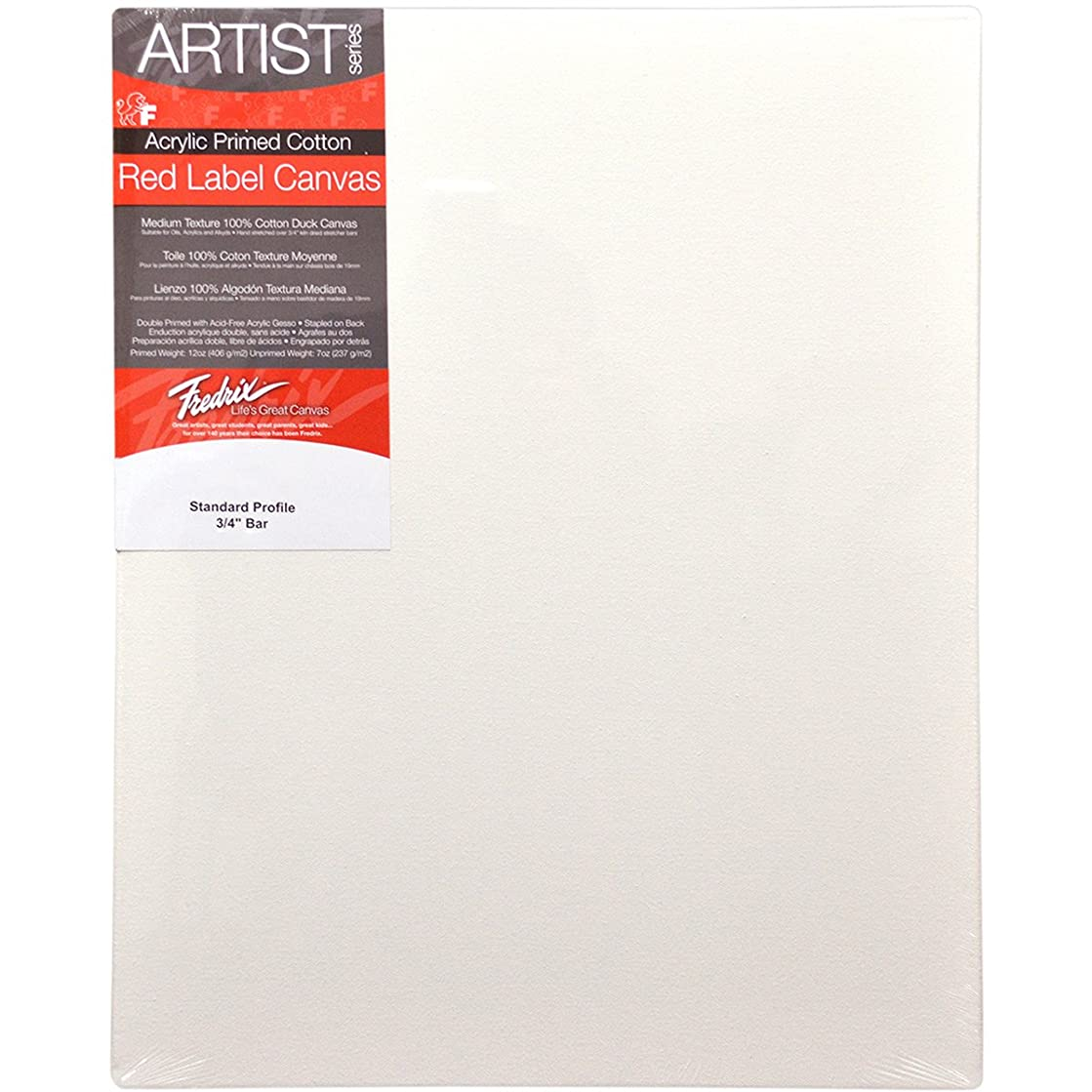 Fredrix 5018 Red Label Stretched Canvas, 12 x 16 Inches