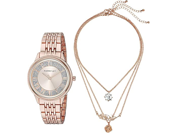 Steve Madden Madden Girl Watch with Tiered Necklace Set SMGS019