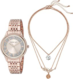 Madden Girl Watch with Tiered Necklace Set SMGS019