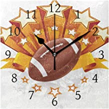 Reloj de pared Ahomy Art Number de 20 cm con emblema de fútbol americano, reloj cuadrado, silencioso, sin tictac, funciona con pilas, decorativo